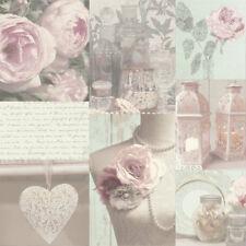 Vintage shabby chic dentelle rose charlotte papier peint rose livraison gratuite