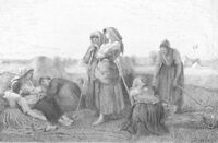TIRED COUNTRY FARM GIRLS WOMEN PEASANT FIELD WORKERS ~ 1877 Art Print ETCHING