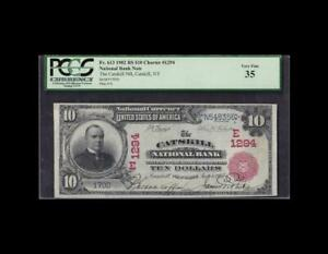 ULTRA RARE 1902 $10 RED SEAL NATIONAL NEW YORK PCGS VERY FINE 35