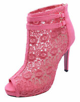 LADIES PINK SLIP-ON STILETTO LACE PEEP-TOE ZIP-UP ANKLE CALF BOOTS SHOES UK 2-7