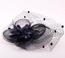 Flores Negras & Enredado Mujer Boda Ascot Tocado Pasador hfac1