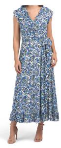 ESCADA DRESS  NEW, SILK BLEND FLORAL MAXI DRESS , SIZE 44, BLUE/MULTI