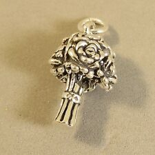 .925 Sterling Silver 3-D FLOWER BOUQUET CHARM Pendant Bride Wedding NEW 925 WD14
