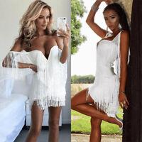 Women Tassel Deep V Bodycon Beach Clubwear Evening Party Short Mini Pencil Dress