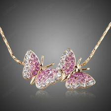 Pink Butterfly Chain Necklace Women Austrian Crystal 18k Gold Plated Jewelry