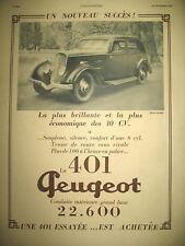 PUBLICITE DE PRESSE PEUGEOT 401 LA PLUS BRILLANTE ET LA PLUS ECONOMIQUE AD 1934