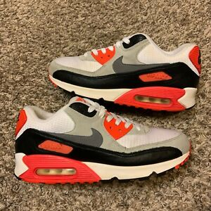 Nike Air Max 90 Infrared White Cement Grey 2015 Running Sneakers Size 8.5