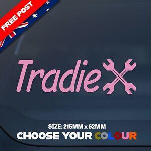 'Tradie' PINK Vinyl Cut Decal/Sticker 215mmx62mm WATERPROOF/DURABLE