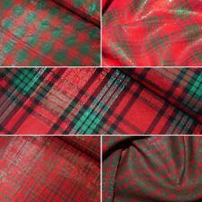 Cotton Lurex Fabric Christmas Red & Green Tartan Checks Checked Festive