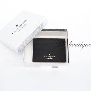 NWT New Kate Spade WLR00214 Boxed Small Slim Card Case Holder Lola Glitter Black