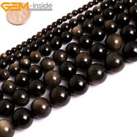 "Natural Golden Obsidian Gemstone Round Loose Beads For Jewellery Making 15"" GK"