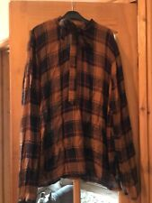Ladies Brown & Navy Shirt Top Blouse Sz 16 Pussy Bow Ex Cond