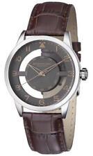 Stuhrling 650 03 Aviator Quartz Transparent Dial Leather Strap Brown Mens Watch
