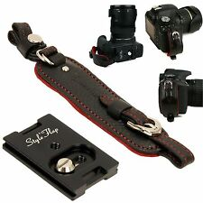 Genuine Leather camera hand grip strap + Plate - Black - Film DSLR vintage Cute
