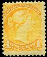 Canada #35 mint  F OG bit of DG 1870 Queen Victoria 1c yellow Small Queen