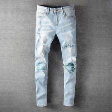 Mens Knee Ripped Patchwork Patch Folds Skinny Fit Light Blue Stretch Denim Jeans