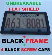 Unbreakable Flat Tinted Smoke License Plate Shield Cover + Black Frame + 4 Caps