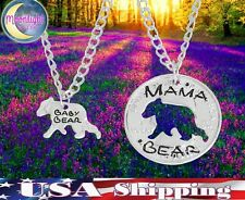 New Mama Bear And Baby Bear Coin shaped Split 2 pcs Couples Necklace