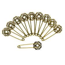 10pcs Brooch Pins Filigree Flower DIY Finding Bronze Metal Safety Blank