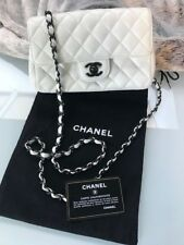AUTHENTIC CHANEL WHITE RECTANGULAR MINI CLASSIC FLAP BAG