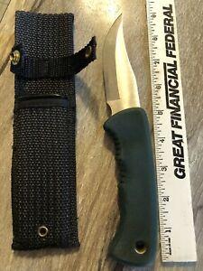 VINTAGE SCHRADE OLD TIMER KNIFE WITH ORIGINAL SHEATH GREEN HANDLE USA