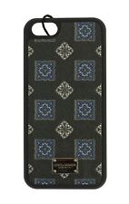 NEW $200 DOLCE & GABBANA Phone Case Black Print Leather Silver Logo 13x7 iPhone5