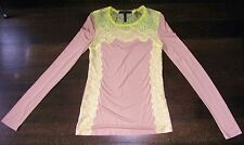 WOMENS BCBG MAXAZRIA SIZE XSMALL BEIGE YELLOW LACE LONG SLEEVE SHIRT TEE BLOUSE