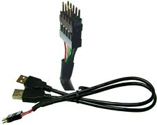 2 x USB A plug  to 9  Pin header adaptor  for internal USB Hubs
