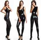 Exotic Sexy Black PVC Hatler Neck Jumpsuit Catsuit Outfit Size 6-8-10-12-14-16