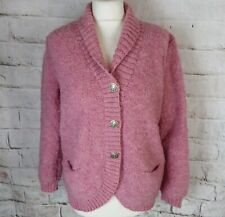 Vintage chunky pink boucle pure wool cardigan 12 14 hand knit warm cosy blogger