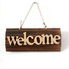 Vintage Wood Welcome Sign Plaque Cafe Shop Home Welcome Wall Hanging Sign Board