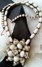 Vintage Hobe Signed Milk Glass Flower Cluster Rhinestoned Choker Necklace