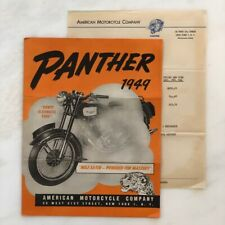 1949 PANTHER American MOTORCYCLE Co VINTAGE Flyer Brochre ADVERTISING Price List