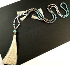 Gemstone & Natural Lava Beaded Dangle Necklace with Cream Tassels # 609