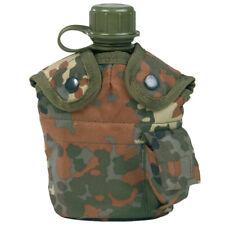 Water Bottle Canteen + Belt Holder + Cup Army Military German Flecktarn Camo
