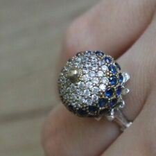 925 Sterling Silver Handmade Authentic Turkish Sapphire Ladies Ring Size 7-9