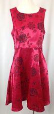 FEVER London Red rose design Fit & Flare Sleeveless Dress UK SIZE 12