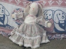 "HANDMADE VINTAGE 10"" PRIMITIVE FOLK ART COUNTRY EASTER BUNNY LOP EARS SWEET"