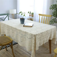 Flower Hollow Decorative Table Cloth Cotton Lace Tablecloth Dining Table Cover