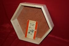 Hexagonal Wooden Display Shelf Frame + back. Spruce wood shelving wall hexagon