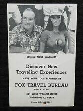 """1960's BOB HOPE BIG TITTED GIRL """"ESKIMO NOSE WARMER"""" RPPC FOX TRAVEL ROBINSON IL"""