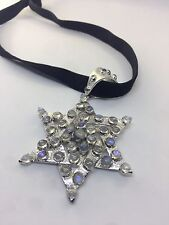 Vintage Genuine Moonstone 925 Sterling Silver Star of David Pendant Choker