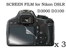 3 Clear LCD Screen Protector Film Cover skin for Nikon DSLR D3000 D3100 D-3100