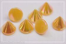 50pz Borchie sfuse a cono da cucire colore arancio effetto aurora boreale1X0,9cm