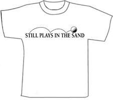 (M) Funny T-Shirts.. Plays Golf.. White Cotton  T-Shirt (M)