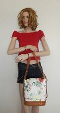 VALENTINA MADE IN ITALY FLORAL SLING BUCKET, SHOULDER LEATHER HOBO NWT