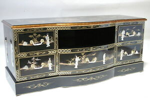 """oriental furniture 60"""" TV cabinet, Chinese black  lacquer TV stand,"""