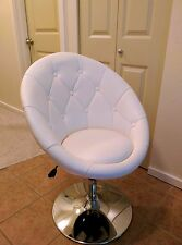 Bon Vanity Chair Swivel Seat Modern Round Back Button Tufted Vinyl Chrome  Pedestal
