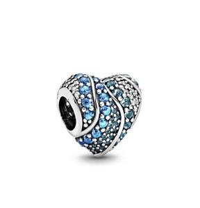 New Pandora Charms Blue Water Heart Charm S925
