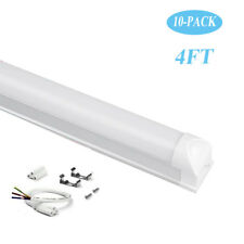 10X T8 Integrated LED Tubes Single Fixture 4FT Frosted Lens 6500K Cool White